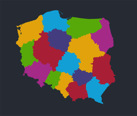 Infographics Poland map, flat design colors, individual administrative division, blue background blank