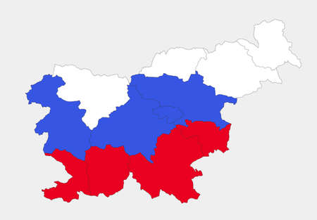 Map of the Slovenia in the colors of the flag with administrative divisions blank
