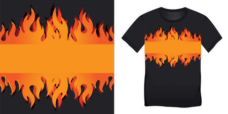 T-shirt graphic design of with burning flames blank