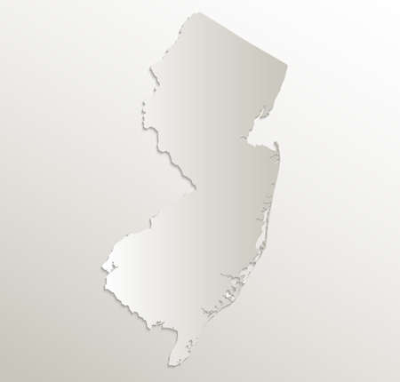 New Jersey map card paper 3D natural blank
