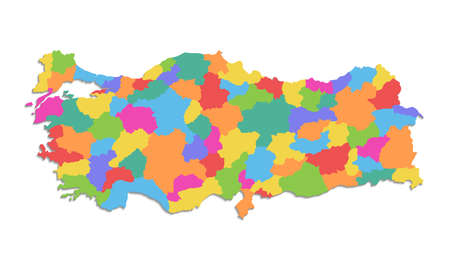 Turkey map, administrative division, separate individual regions, color map isolated on white background blank Stockfoto