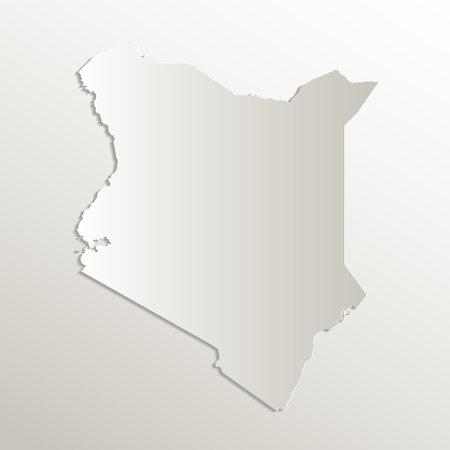 Kenya map card paper 3D natural blank