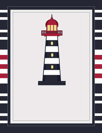 Nautical card template with Lighthouse blank