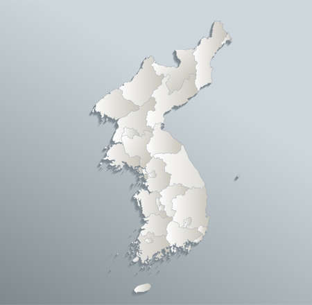 Korea map, north and south, administrative division, blue white card paper 3D blank
