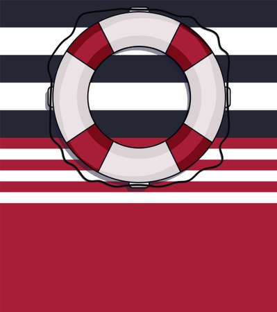 Nautical design vector card with lifebuoy and compass blank Stockfoto