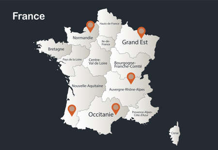 France map, Infographics flat design colors snow white, with names of individual regions vector