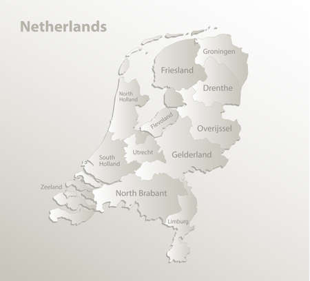 Netherlands map, administrative division, separate regions with names of individual regions, card paper 3D natural vector