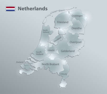 Netherlands map and flag, administrative division, separates regions and names individual region, design glass card 3D vector