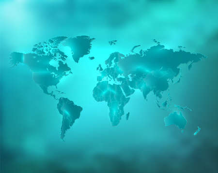 World map blue turquoise sky with separate states and glowing neon light blank