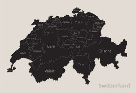 Black map of Switzerland with names of regions, design blackboard vector