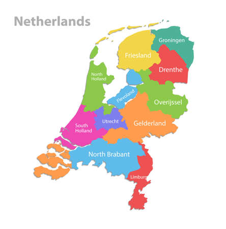 Netherlands map, administrative division, separate individual regions with names, color map isolated on white background vector