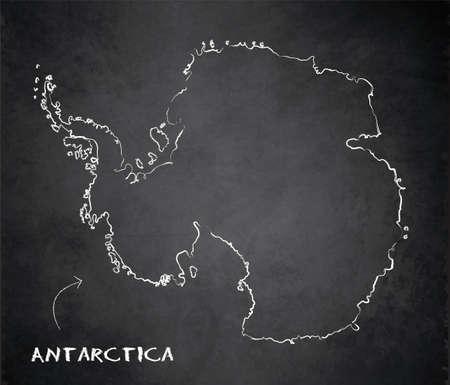Antarctica map card blackboard chalkboard vector