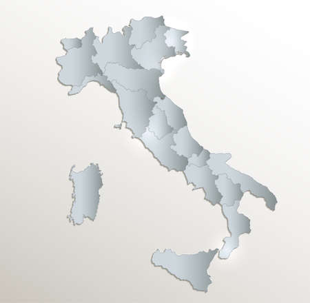 Italy map, administrative division, white blue card paper 3D blank