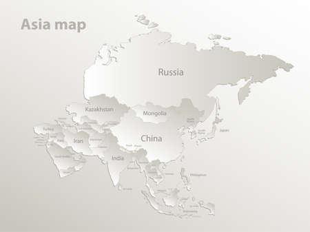 Asia map, separates states and names, card paper 3D natural vector Vektorgrafik