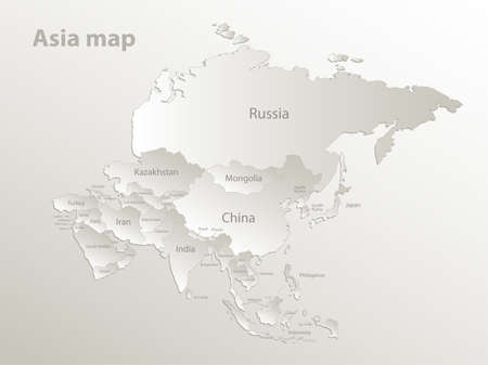 Asia map, separates states and names, card paper 3D natural vector Vetores