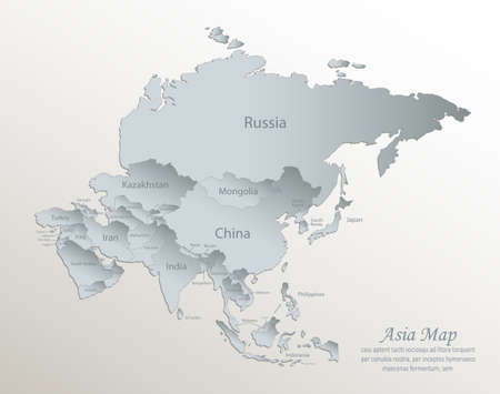 Asia map, separate states with names, white blue card paper 3D vector