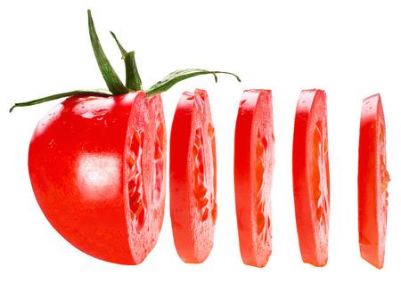 gesneden tomaat op een witte achtergrond Stockfoto