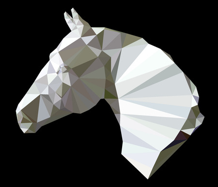 racing sign: horse head isolated on black background