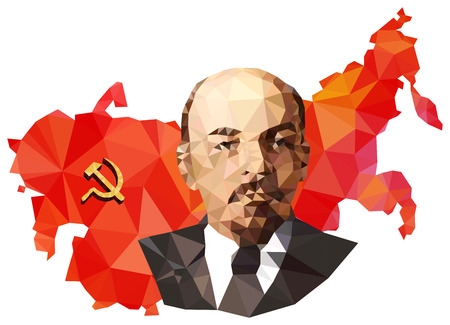 lenin: Soviet Union, USSR, map with flag, portrait of Lenin isolated on white background