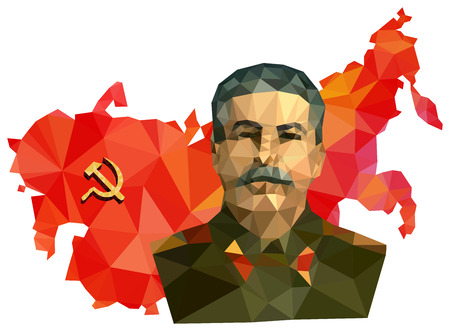 stalin: Soviet Union, USSR, map with flag, portrait of Stalin isolated on white background