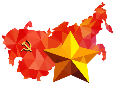 former: Soviet Union, USSR, map with flag, star isolated on white background