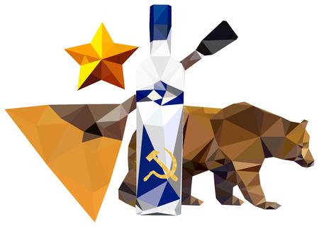 symbolism: Russian symbolism ( bear; star, balalaika, vodka) isolated on white background