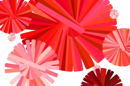 Vibrant Bright Red Abstract Circle Flowers Imagens