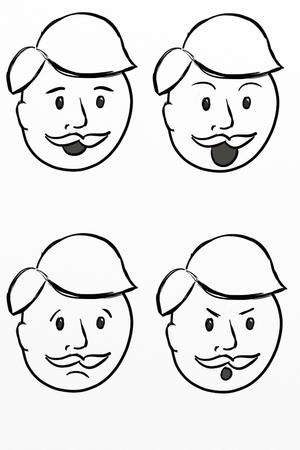 sad men: Cartoon Man w Expressions Stock Photo