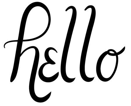 say hello: Hello Script Typography Vector Illustration