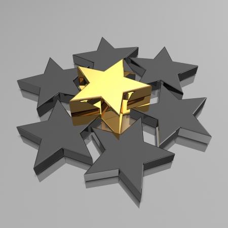 3d golden and black stars  Winner concept