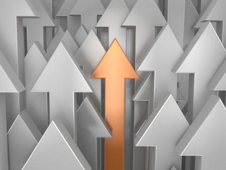 3d orange arrow among grey  Way to success  Stock Photo