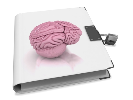 3d book with brain cover and lock