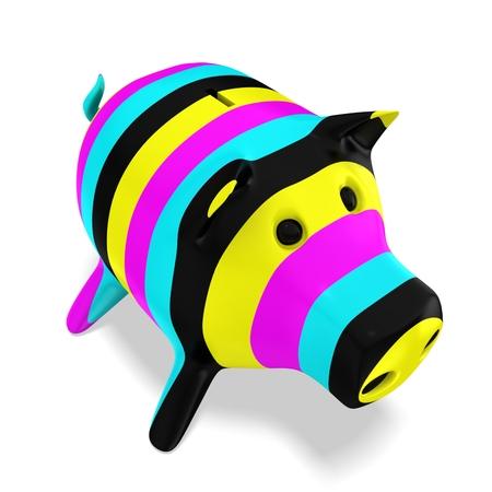 3d piggy bank  Cmyk concept Stock Photo