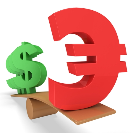 3d euro and dollar sign on scale board Stock Photo