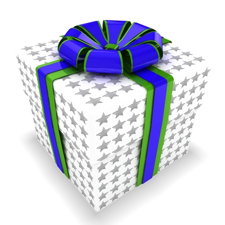 3d gift box with stars texture Stock Photo - 22381668