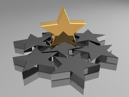 3d golden and black star