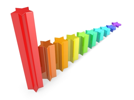 3d business graph from colorful stars Stock Photo