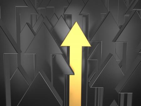 3d golden arrow among black. Way to success.