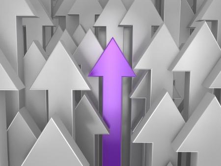 3d purple arrow among grey. Way to success.