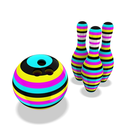 3d cmyk bowling ball and skittles Stock Photo