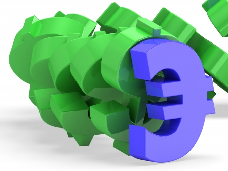 Falling dollar signs. Stability concept