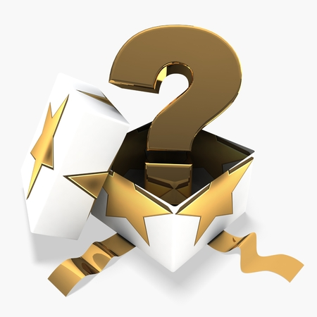 3d gift box with golden question mark Stock Photo