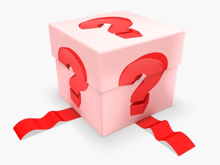 3d gift box with red question mark Stock Photo