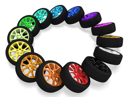 3d colorful car wheels Stock Photo