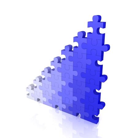 3d puzzle success financial bar chart graph Stock Photo