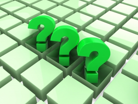 3d three green question marks Stock Photo