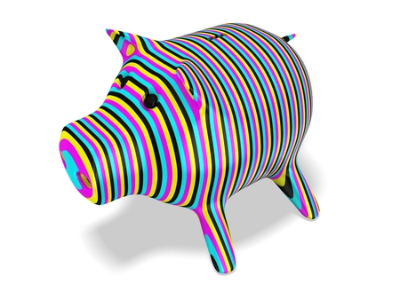 3d piggy bank. Cmyk concept Stock Photo