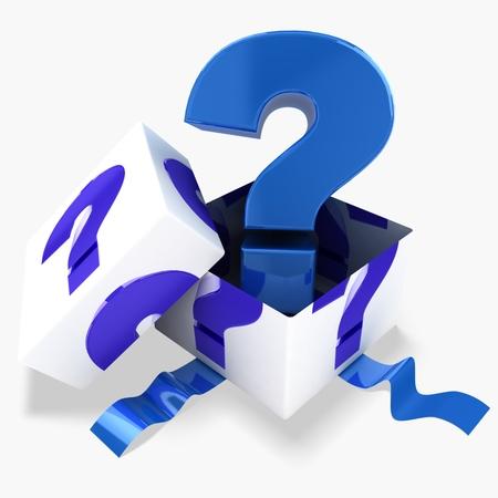 3d gift box blue question mark