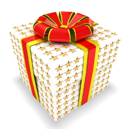 3d gift box with stars texture Stock Photo - 22421905