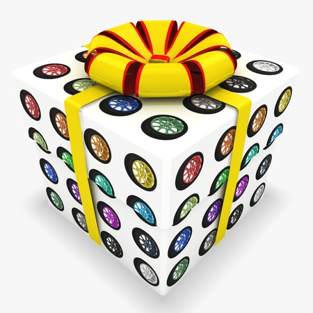 3d gift box with Set of colorful wheels Stock Photo